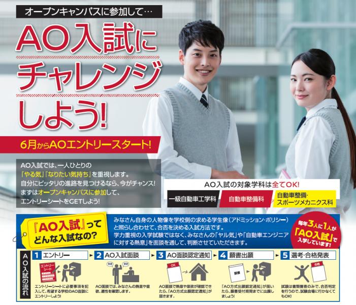 【入試情報】6月1日(月)からAOエントリーの受付を開始します!